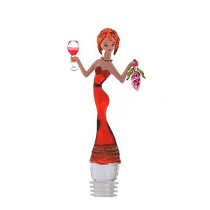Red Lady w/ grapes Hand Crafted Bottle Stopper
