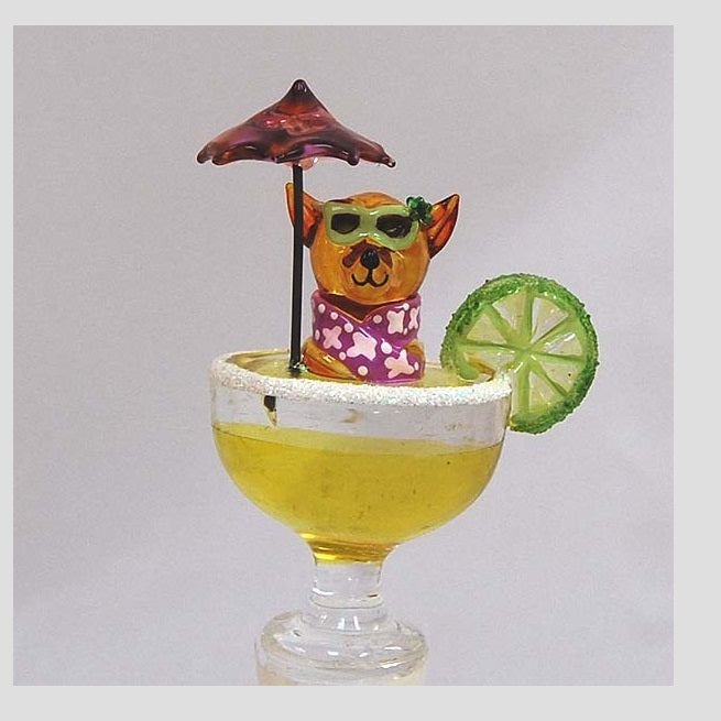 Yellow Chihuahua Margarita Hand Crafted Bottle Stopper