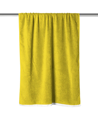 Yellow Solid Velour Extra Long Beach Towel