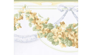Green Yellow White Floral Vines CH77640 Wallpaper Border