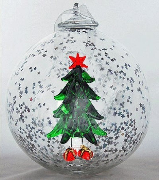 Christmas Tree with Presents Hand Blown Christmas Ornament
