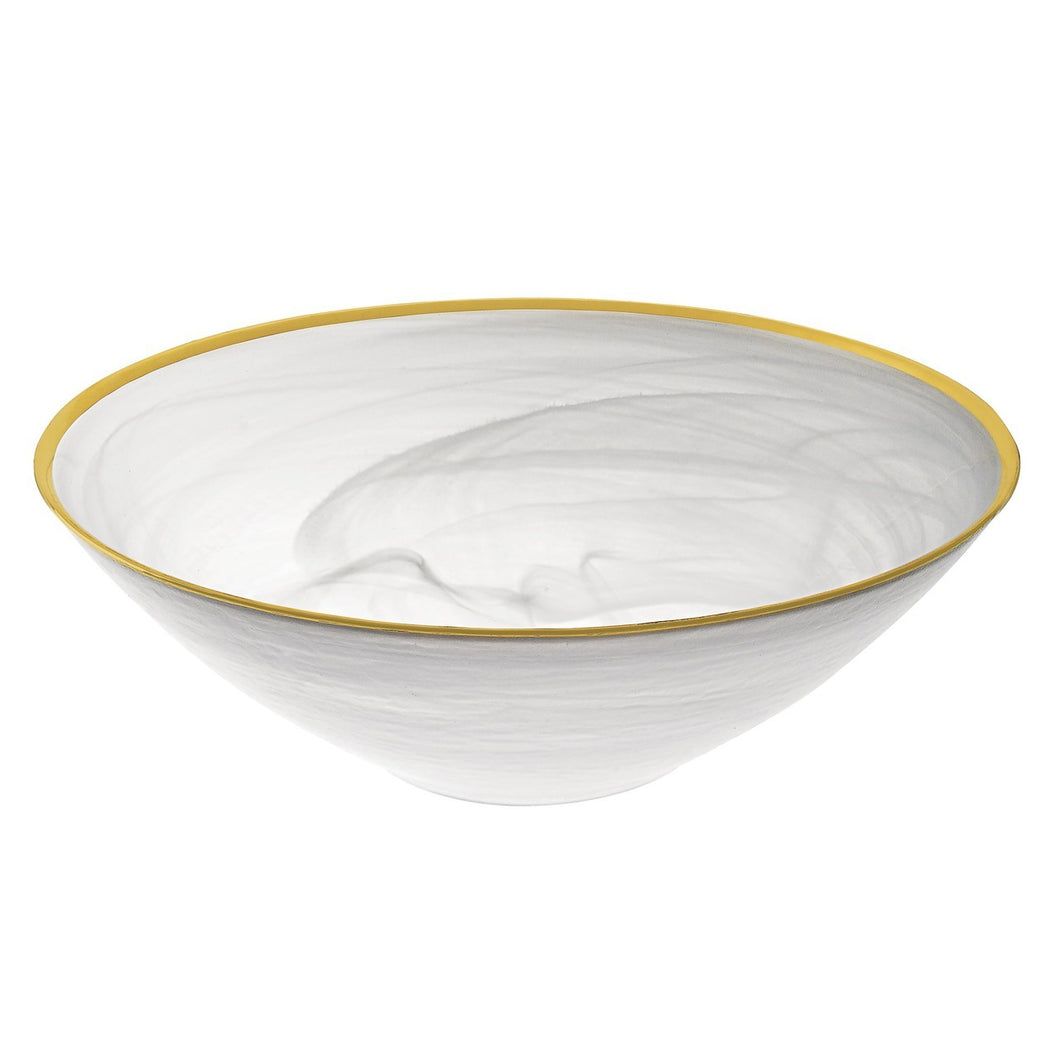 White Alabaster Glass Bowl  Gold Trim