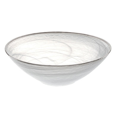 White Alabaster Glass Bowl Silver Trim