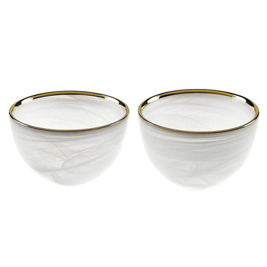 Pair of White Alabaster Bowls Gold Trim