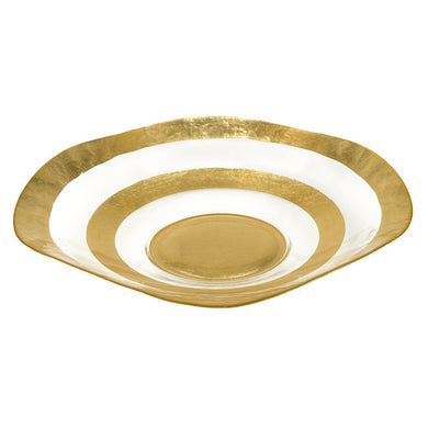 Round Gold Leaf Wave Glass Bowl  D722G