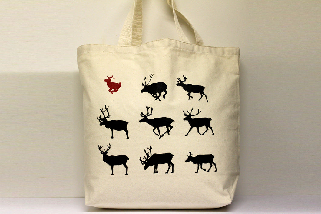 Reindeer Red Tote Bag Large