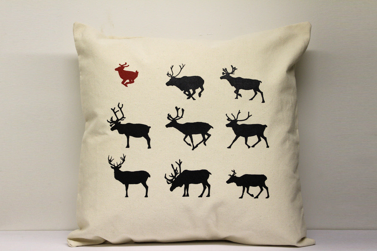 Reindeer Red Decorative Pillow Large