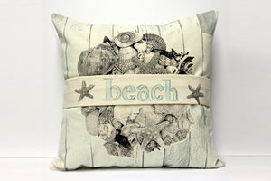 Shell Wood Beach Banner Decorative Pillow Large