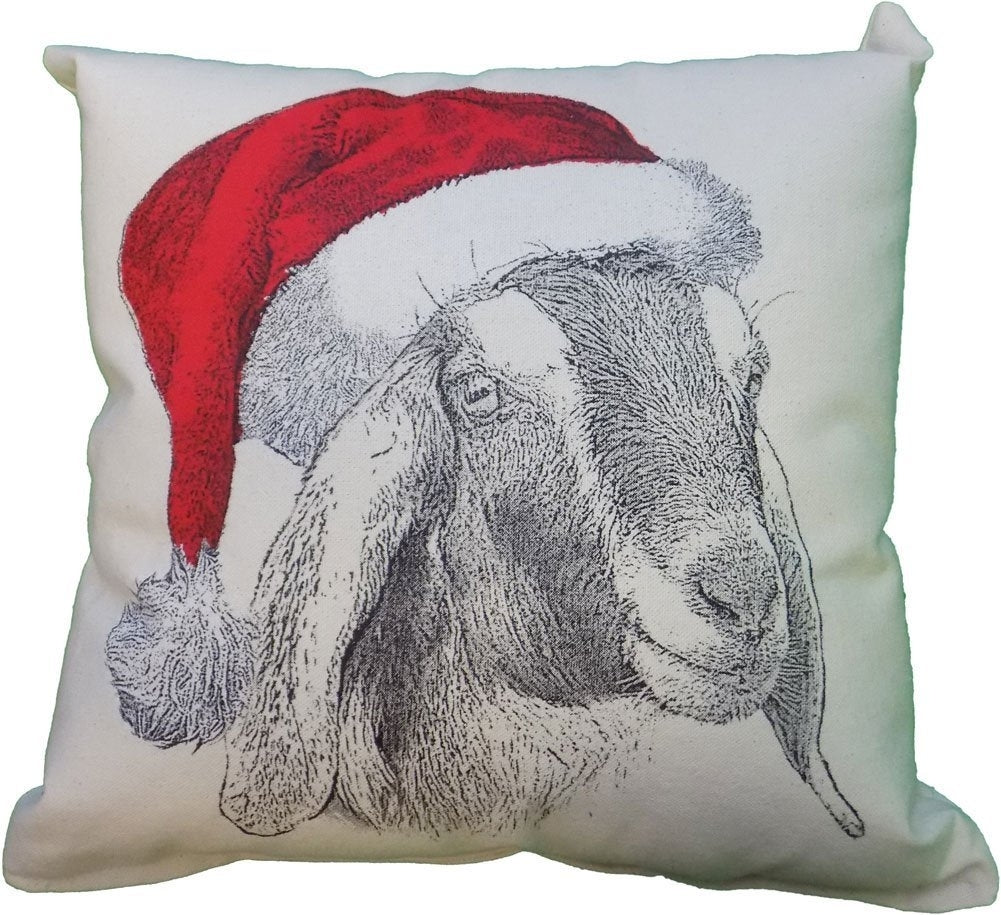 Goat Head Santa Hat Decorative Pillow Medium