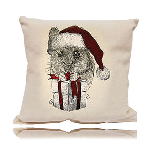 Mouse With Santa Hat Decorative Pillow Medium