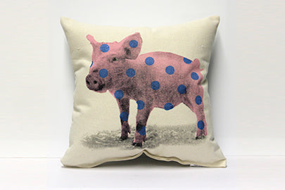 Polka Dotted Pig Decorative Pillow Medium