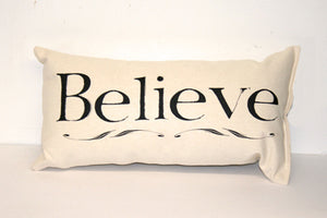Believe Black Decorative Pillow Small