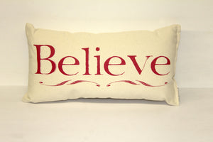 Believe Red Decorative Pillow Small