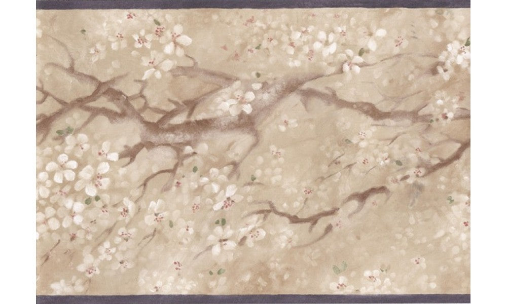 Black Beige Japanese Floral EG22111 Wallpaper Border