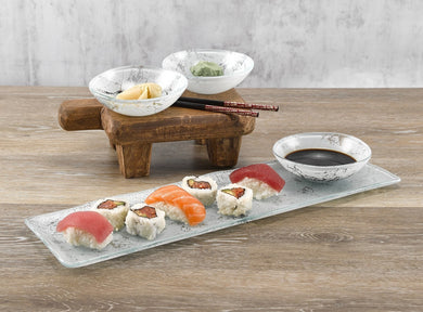 Sushi 4 pc Set White Glass Marble Decor