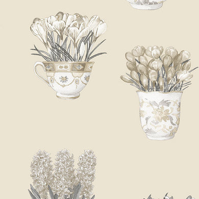 Off White Flower Pots FK34422 Wallpaper