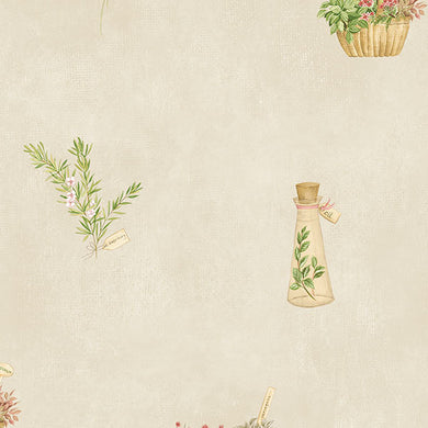 Off White Country Floral Baskets FK34430 Wallpaper
