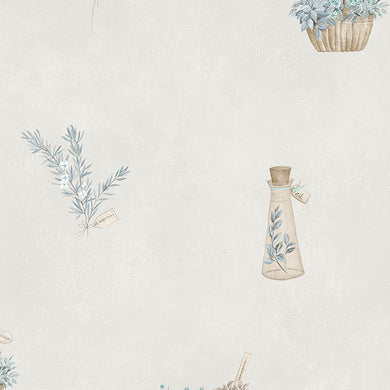 Blue Off White Country Herbs FK34431 Wallpaper