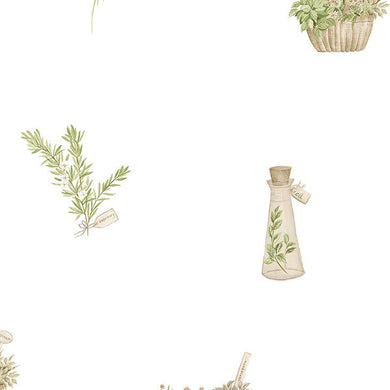 Green White Country Herbs FK34432 Wallpaper