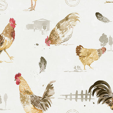 Brown White Country Roosters FK34433 Wallpaper