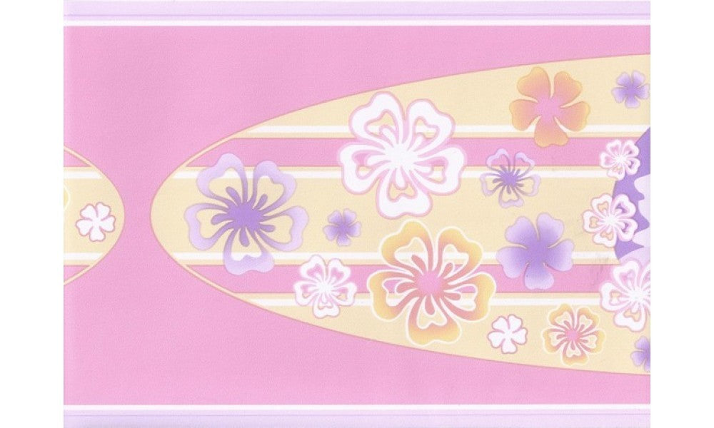 Purple Pink Hawaiian Surf Board GU79216 Wallpaper Border