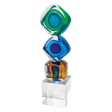 Murano Style Art Glass Tricolore Cubed Centerpiece