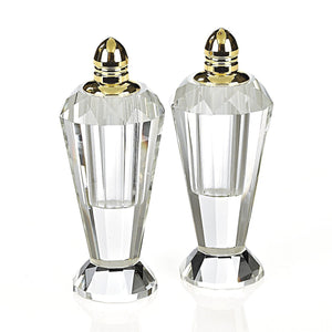 Gold Top Salt and Pepper Crystal Glass Vessels