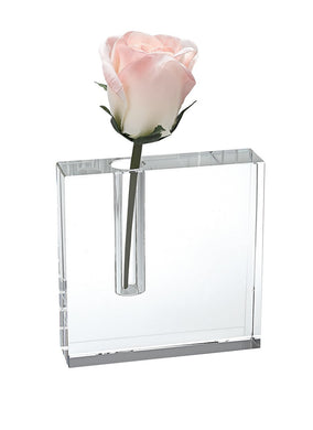 Clear Block Bud Glass Vase
