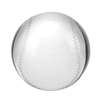 Baseball Crystal Glass Paperweight