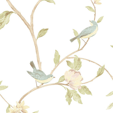 Blue Yellow Floral Toile HM26326 Wallpaper