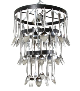 Round Bar Three Tier Fork and Spoon Chandelier
