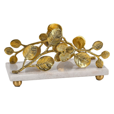 Napkin holder with Marble Base and Brass Petals