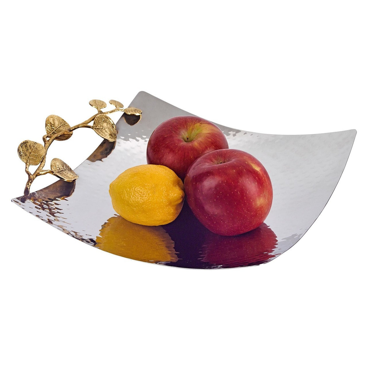 Petals Square Stainless Steel and Brass Platter
