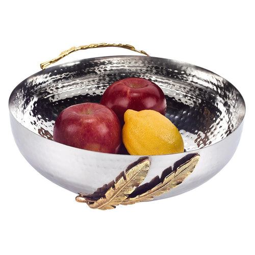 Feathers Stainless Steel Brass Round 10 Bowl
