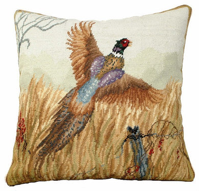 Pheasant in Flight 18x18 Needlepoint Pillow