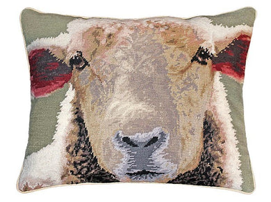 Sheep Face 16x20 Needlepoint Pillow