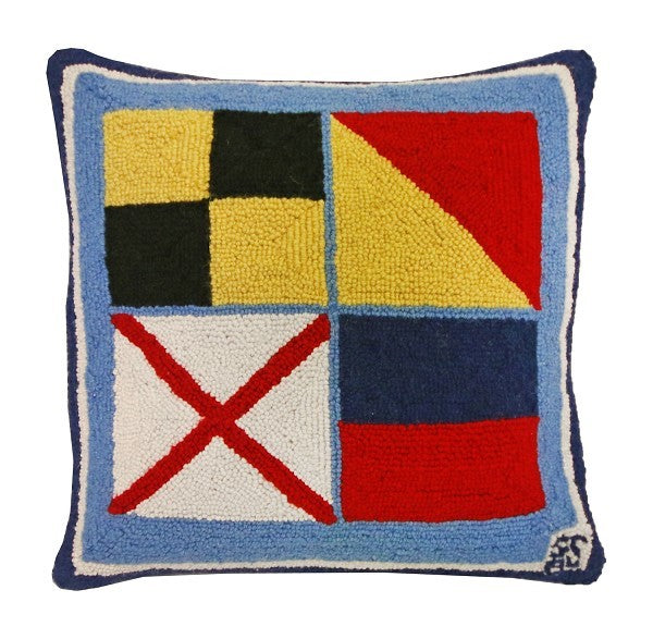 Nautical Love 18x18 Hooked Pillow