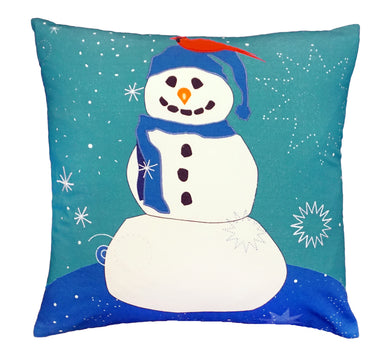 NPE033 Snowman and Red Bird Decorative Pillow