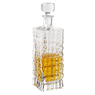 Ripples Square Mouth Blown Crystal Decanter
