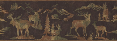 Wildlife Outdoors Moose Cabin OA8153B Wallpaper Border