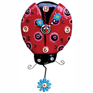 Dotted Ladybug Clock Art by Allen Designs