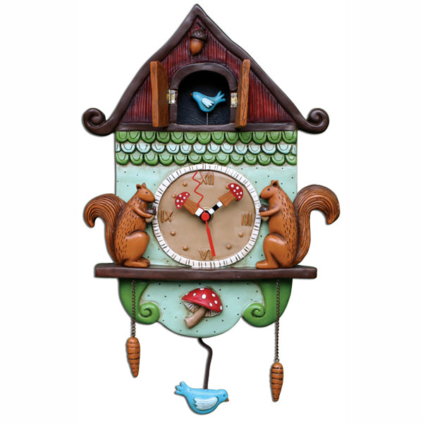 Cuckoo Bird Squirrel Birdhouse Clock Art by Allen Designs