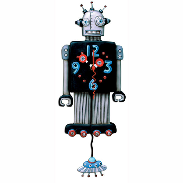 Roboto Robot Space Age Clock Art by Allen Designs