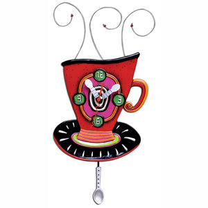 Red Wake Up Cup Clock Art by Allen Designs