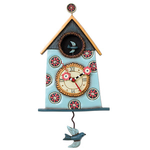 Sweet Nesting Birdhouse Clock Art by Allen Designs