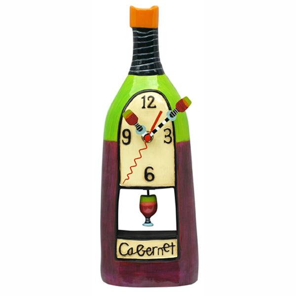 Cabernet Wine Bottle Clock Art by Allen Designs