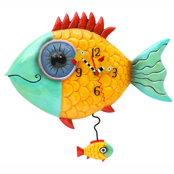 Wide Eyed Red Fin Fish Clock Art by Allen Designs