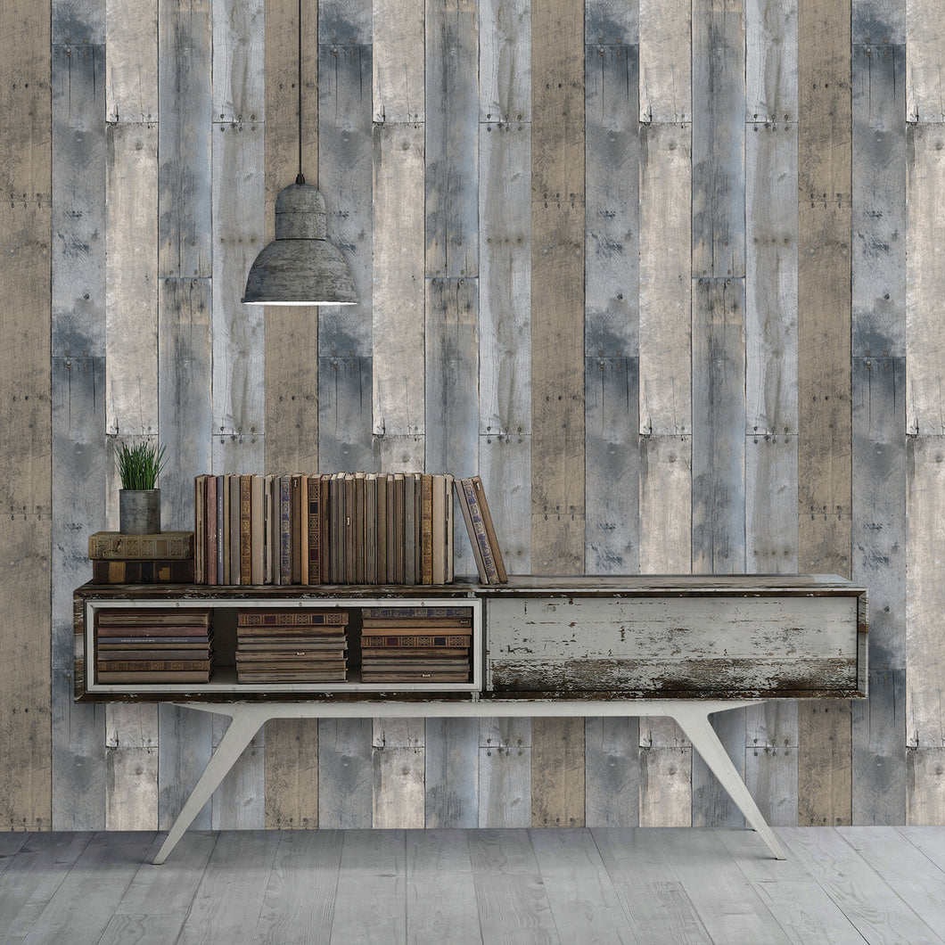 Repurposed Wood Multi-Colored Self-Adhesive RE502 Wallpaper