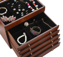 Load image into Gallery viewer, Wooden Walnut Finish Large 5 Drawer Jewelry Box
