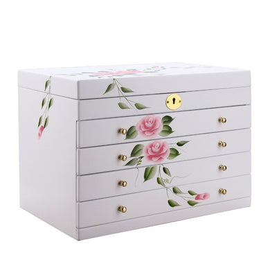 White Floral Large Jewelry Box